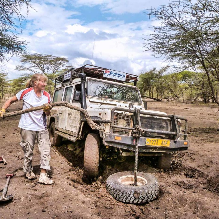 Checking camera traps along Engiju Ngitok river. The fine dust of Ndutu woodlands had turned into slick mud after last night's big rain. Didn't get up the right speed, and sunk right into it.