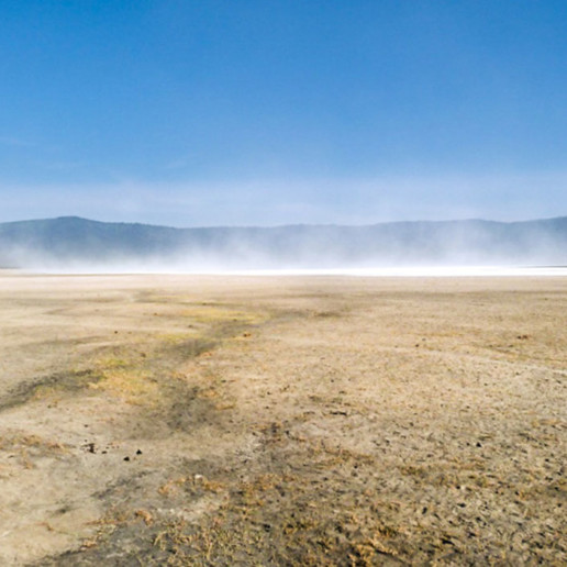 On a hot day evaporation is great from the Lake Makat (Maasai for 'salt') or Lake Magadi. This is the central soda lake in Ngorongoro Crater filled by the Munge River.