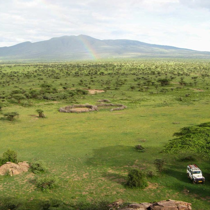 Out exploring the lay of the land, parking in the shade. Here the view from Noorkisaruni. Rainy season with its stunning landscape scenes.