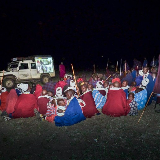 After a recent lion killing event we gathered people in the Oldonyo Gol area to discuss better ways forward. Under the stars we rigged up projector, screen and generator and showed this far-away community our projects activities and the benefit of conservation.