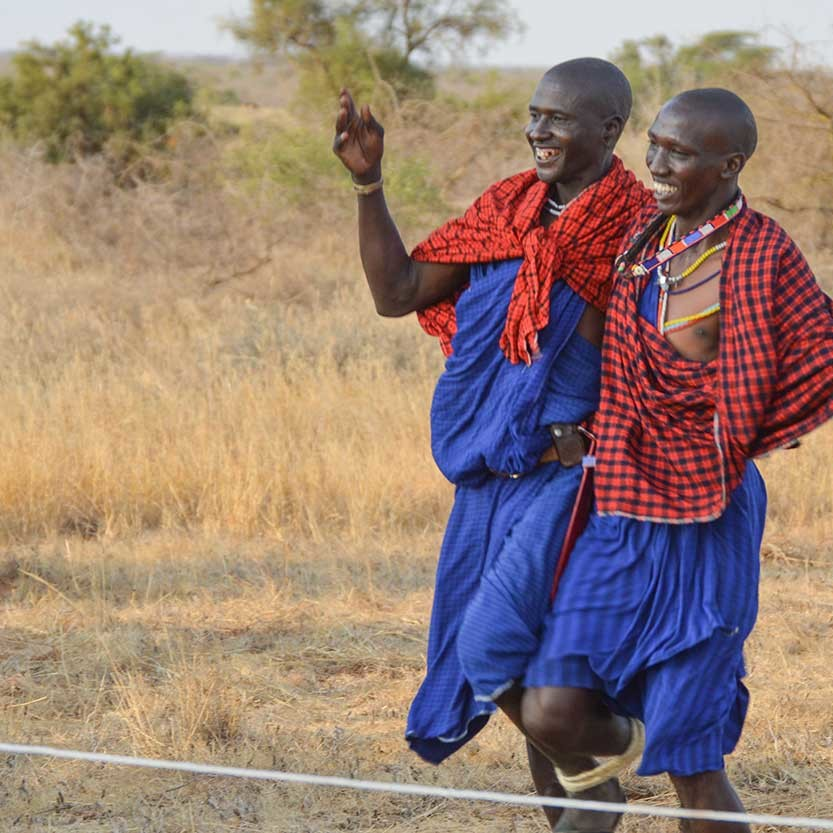 Lion guardian games in Kenya 2016. 1. To the right Ilchokuti Katakara running three legged with a Kenyan Guardian.